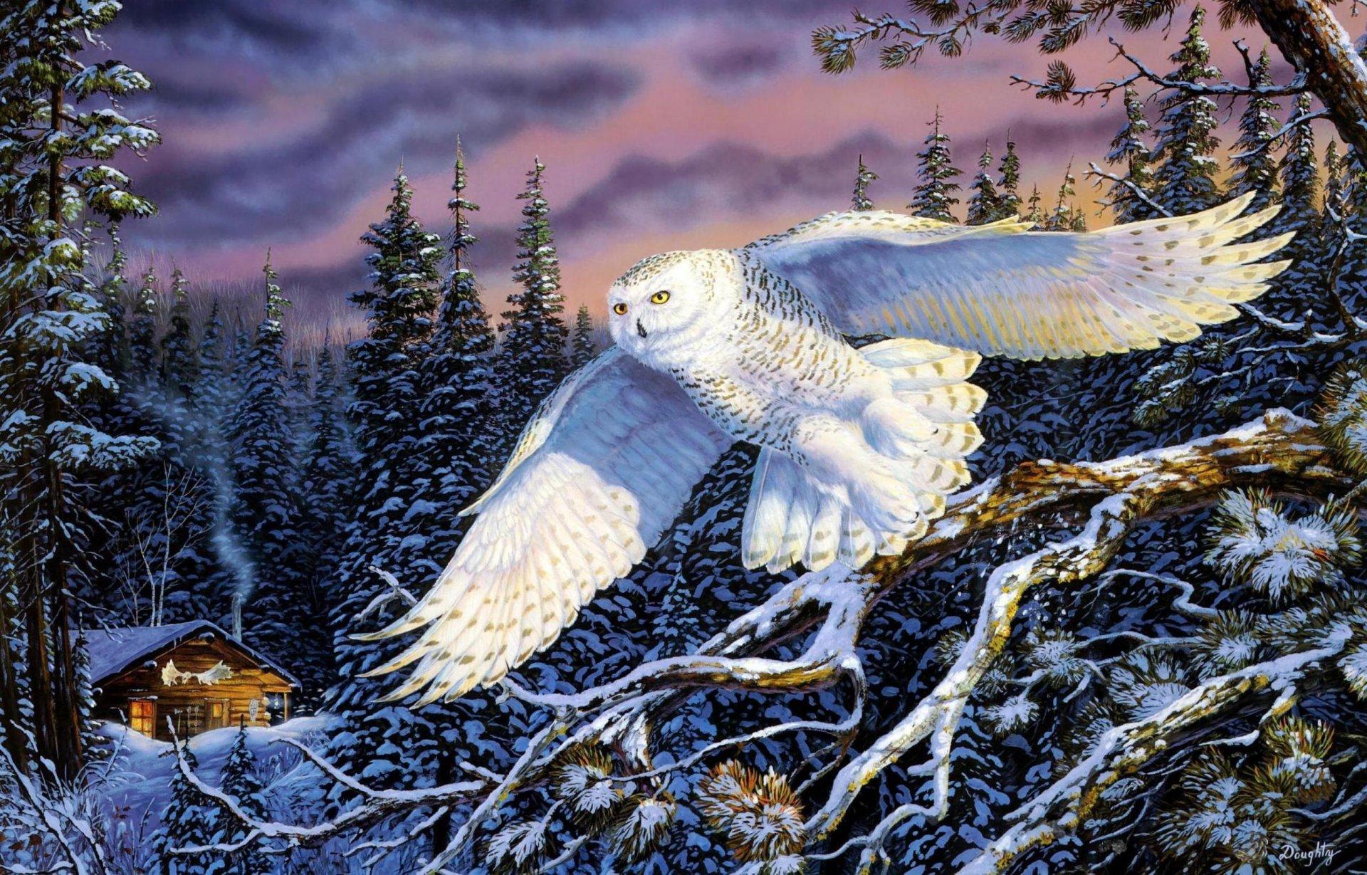 whisper-on-the-wind-terry-doughty-painting-snow-owl-zhivopis-pejzazhi-priroda-sova-zima-les-eli-xizhina