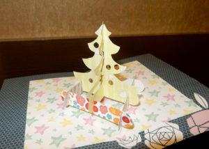 Объемная елочка – открывашка в открытку с шаблоном