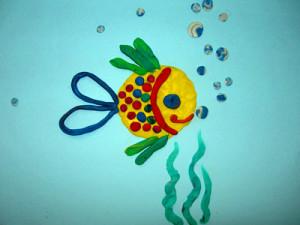 Аппликация из пластилина «Рыба».
