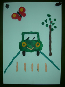 Аппликация из пластилина для детей «Веселая машинка».