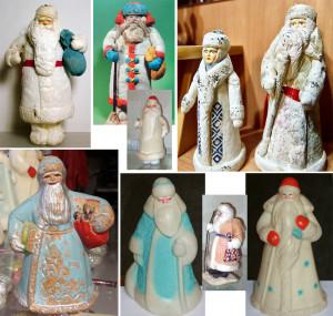 Фигурки Деда Мороза.