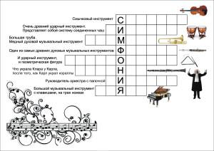 Задание по пению (3 класс): составить кроссворд на тему «Симфонический оркестр».