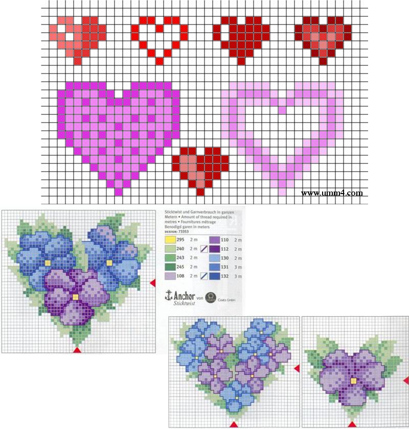Вышивки сердца схемы 49