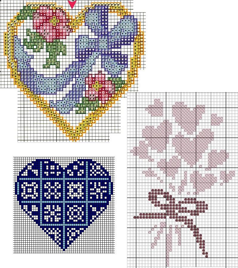 Вышивки сердца схемы 53