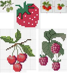 Ягодки и фрукты — простые схемы вышивки крестиком.