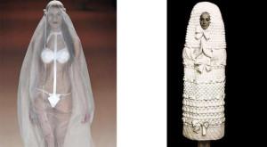 Русский колорит в современном свадебном платье.