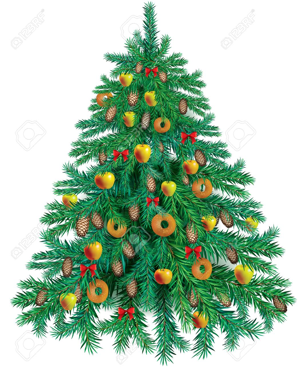 15171714-Tasty-Christmas-tree-decorated-with-apples-and-bagels-Stock-Photo